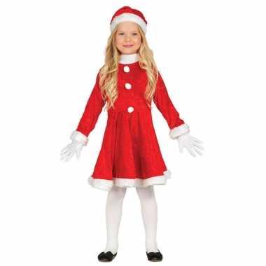 Budget kerstjurkje verkleed kostuum met muts voor meisjes