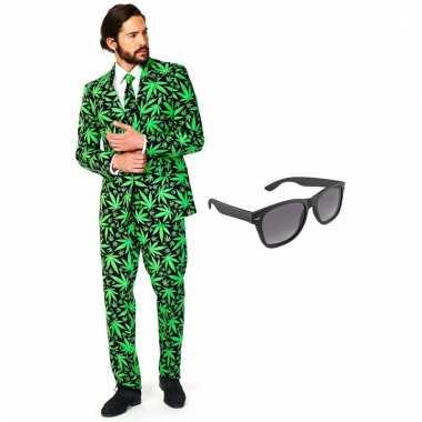 Cannabis print heren kostuum maat 56 (xxxl) met gratis zonnebril