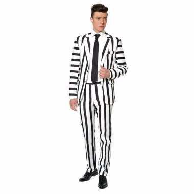 Carnavals feest kostuum heren zwart wit gestreept