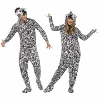 Feest kostuum zebra all-in-one voor volwassenen
