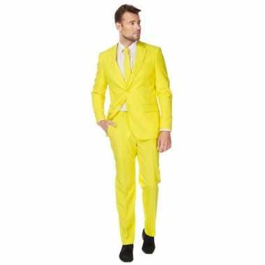 Fel geel kostuum pak voor heren