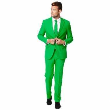 Kostuum Heren.Fel Groen Kostuum Pak Voor Heren