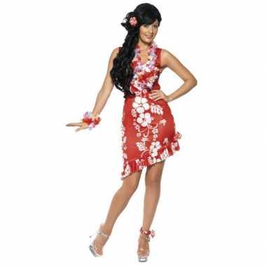Hawaii feest kostuum dames jurkje rood