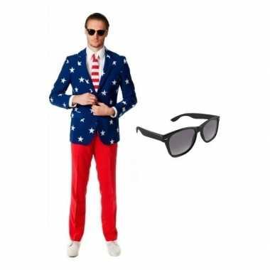 Heren kostuum met amerikaanse vlag print maat 52 xl met gratis
