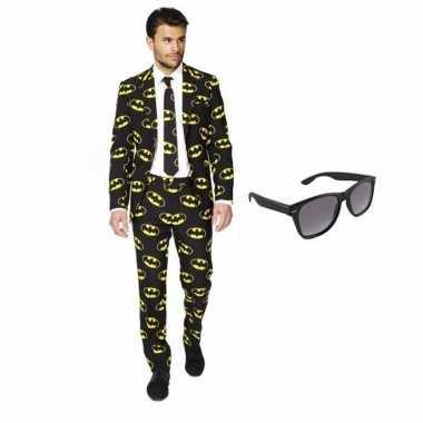 Heren kostuum met batman print maat 50 (l) met gratis zonnebri