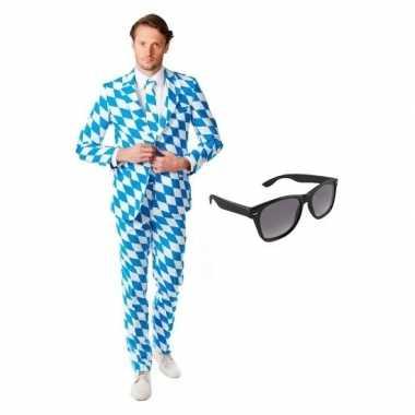 Heren kostuum met beierse print maat 50 (l) met gratis zonnebr