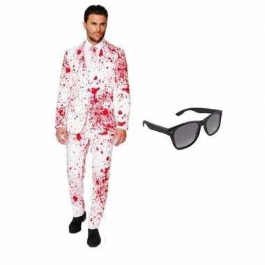 Heren kostuum met bloed print maat 52 (xl) met gratis zonnebri