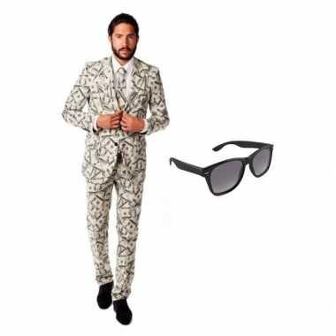 Heren kostuum met dollar print maat 48 m met gratis zonnebril