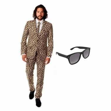 Heren kostuum met luipaard print maat 46 (s) met gratis zonnebri
