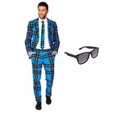 Heren kostuum met schotse print maat 54 (2xl) met gratis zonnebr