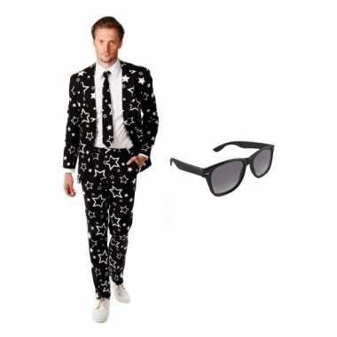 Heren kostuum met sterren print maat 54 (2xl) met gratis zonnebr