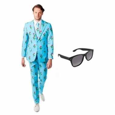 Heren kostuum met tulpen print maat 50 l met gratis zonnebril