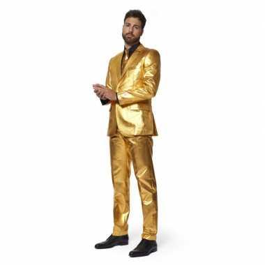 Heren verkleed pak/kostuum metallic goud met stropdas