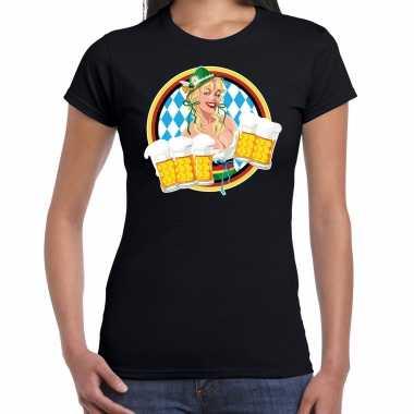 Oktoberfest / bierfeest drank fun t shirt / feest kostuum zwart met beierse kleuren voor dames