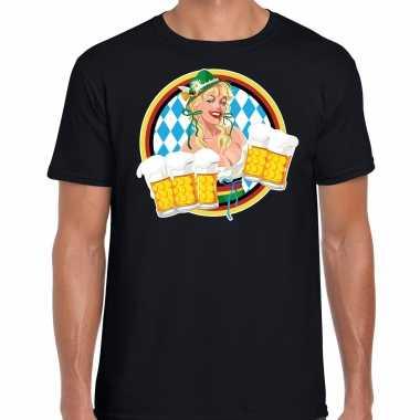Oktoberfest / bierfeest drank fun t shirt / feest kostuum zwart met beierse kleuren voor heren