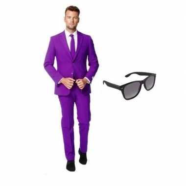 Paars heren kostuum maat 46 (s) met gratis zonnebril