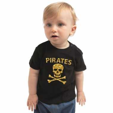 Piraten feest kostuum shirt goud glitter zwart voor peuters
