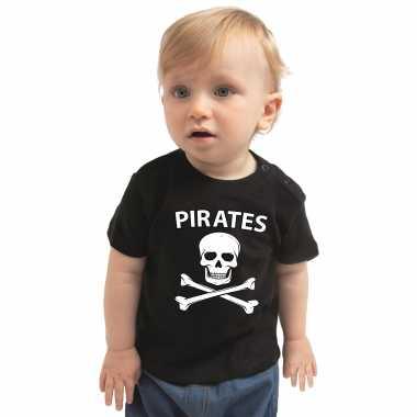 Piraten feest kostuum shirt zwart voor babys
