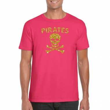 Piraten shirt / foute party verkleed kostuum / feest kostuum goud glitter roze heren