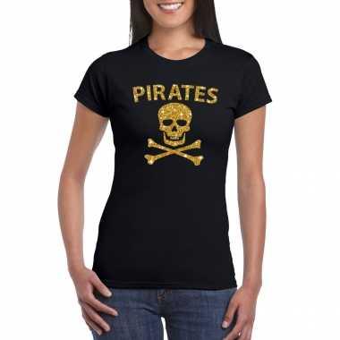 Piraten shirt / foute party verkleed kostuum / feest kostuum goud glitter zwart dames