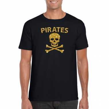 Piraten shirt / foute party verkleed kostuum / feest kostuum goud glitter zwart heren