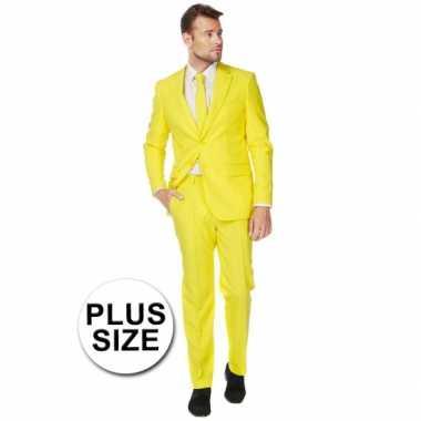 Plus size heren kostuum geel