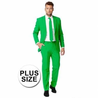 Plus size heren kostuum groen