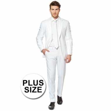 Plus size heren kostuum wit