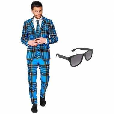Schotse print heren kostuum maat 56 (xxxl) met gratis zonnebril