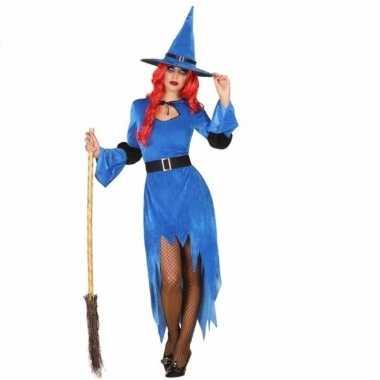 Verkleed feest kostuum blauwe heks