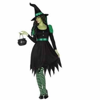 Verkleed feest kostuum zwarte heks 2 delig