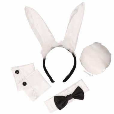 Zwart witte playboy bunny feest kostuum