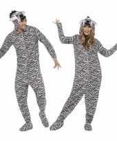 Feest kostuum zebra all in one voor volwassenen