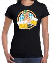 Oktoberfest bierfeest drank fun t-shirt feest kostuum zwart met beierse kleuren voor dames